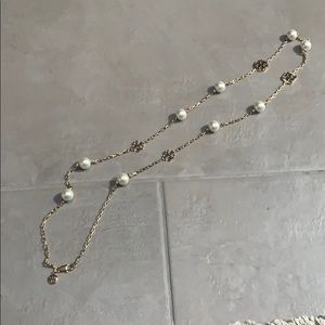 Tory Burch gold necklace with pearls and T logos